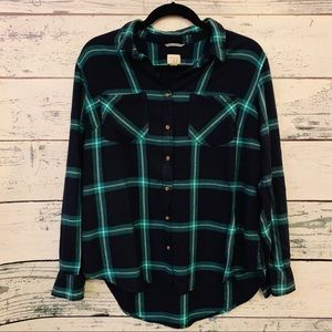 A NEW DAY NAVY/AQUA PLAID SHIRT LADIES XXL
